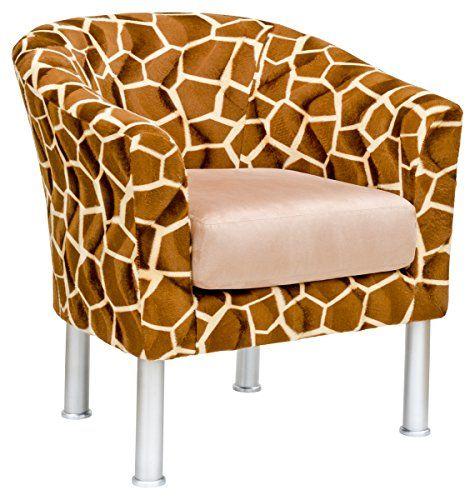 Febland Vittoria Tub Chair in Giraffe Fabric, Brown