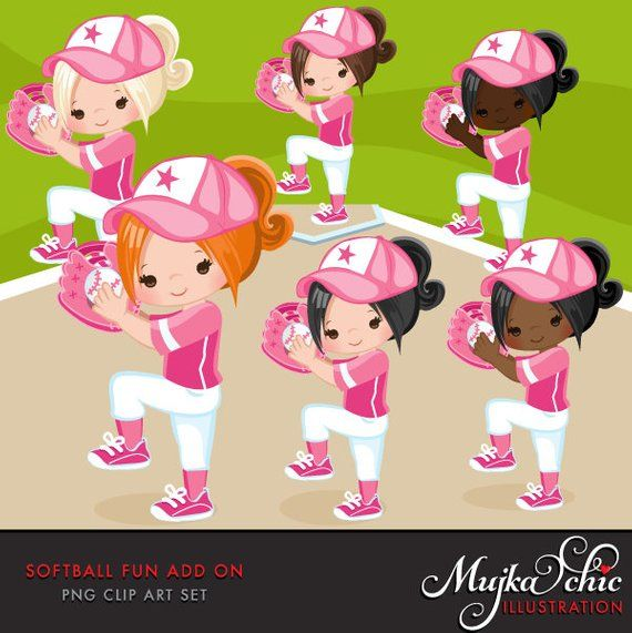 Softball pink. Clipart add on graphics