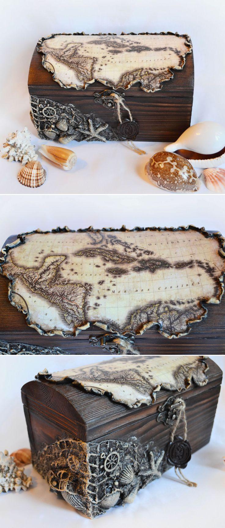 Wooden Decoupage Trunk | Деревянный сундук «Морская карта» — Купить, заказать, сундук, винтаж, дерево, сосна, полимерная глина, морской, карта, декупаж, ракушка