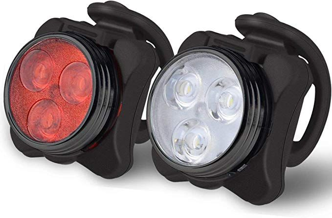 USB Rechargeable Bright LED Bicycle Bike Front Headlight Rear Tail Light Set