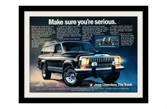 """An original 1981 advertisement for the Jeep Cherokee. A stunning photo print detailing performance. """"Make sure you're serious"""" -An 1981 Jeep Cherokee promotional advertisement -Measures: 8"""" x 11"""", ori"""