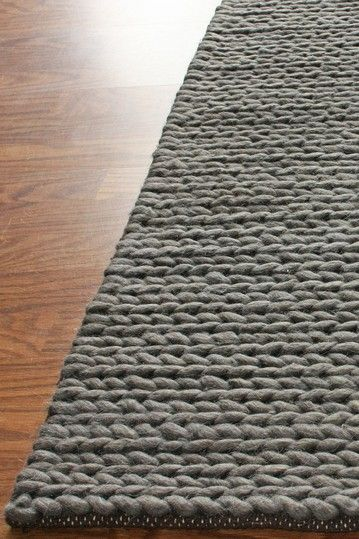 Love My Rugs  Chunky Thick Cable Wool Rug - Grey