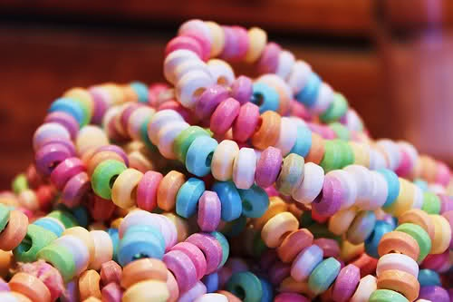 Candy necklaces and bracelets.