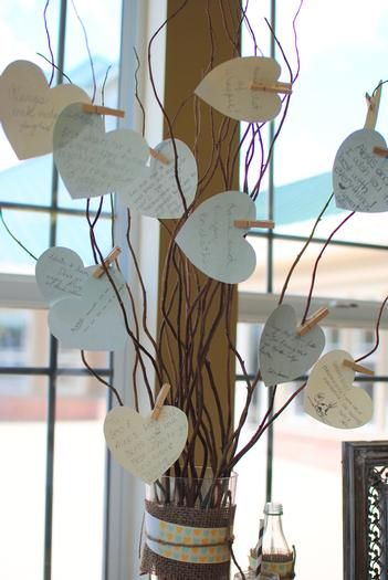 Hostess with the Mostess® - Rustic Couples Shower...I like the heart tree with well wishes. I would change it to star cutouts for baby's 1 year birthday.