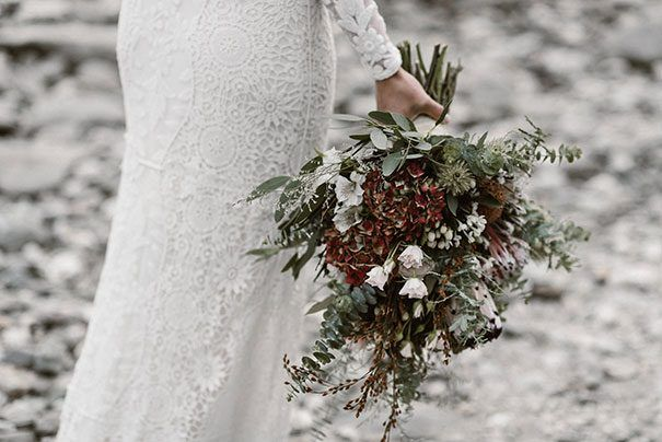 SAM + ANT // #wedding #bride #dress #gown #details #flowers #bouquet #neutrals #outdoors #rustic #nature