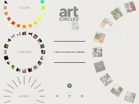 Art Circles FREE whirl through various collection wheels centered around colors, words or featured curators