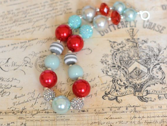 Girls Chunky Necklace- Red, Aqua, and Gray M2M Giggle Moon Bubble Gum Necklace, Chunky Necklace, Photo Prop, Womens Necklace
