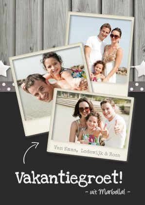Vakantie fotocollage polaroid - Vakantiekaarten - Kaartje2go