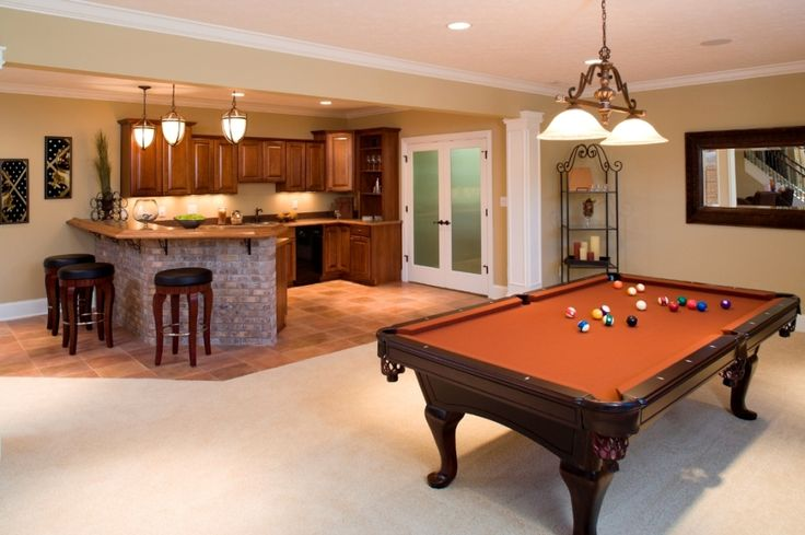 Architecture:Stunning Basement Finishing Ideas With Luxury Billiard Room Decorating Ideas Also Pendant Lighting With Kitchen Bar And Bar Stools Also Kitchen Cabinets Denver With Sink And Faucets Plus Ceiling Lighting Marble Floor The Coolest Basement Finishing Ideas for Your On – going Remodeling Basement