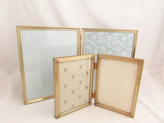 Two Vintage Hinged Metal Picture Frames in Two Sizes  5 x 7