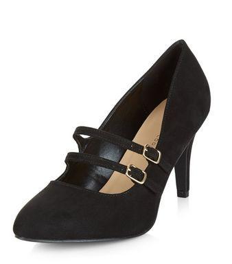 800222ecdcb Wide Fit Black Suedette Double Strap Front Heels