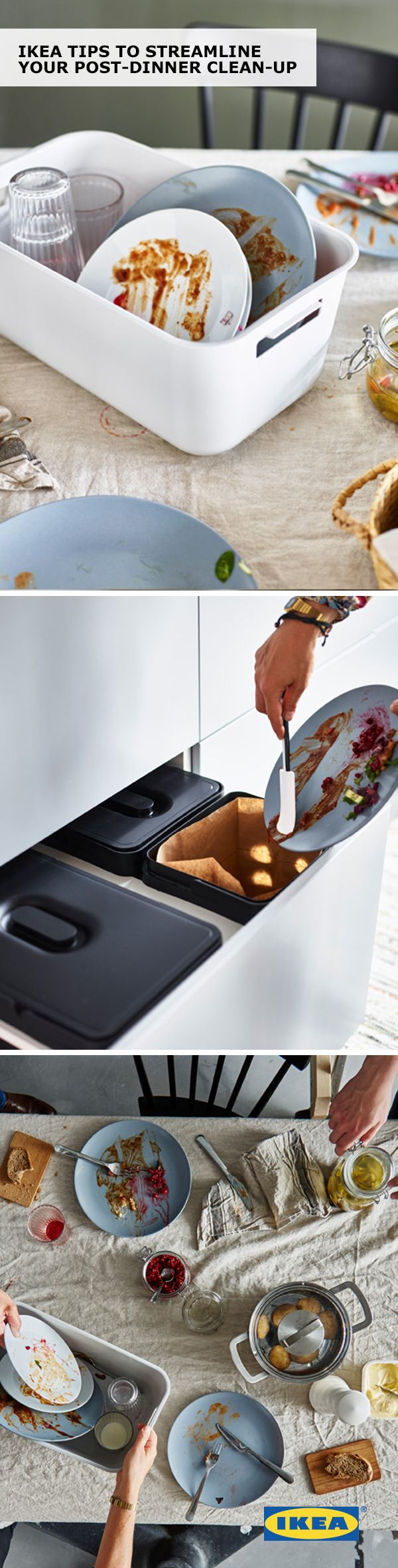 After enjoying a family dinner, the last thing you want to do is put away the leftovers and clean the dishes. Here are a few IKEA tips to help streamline your post-dinner cleanup - and even get your kids involved!