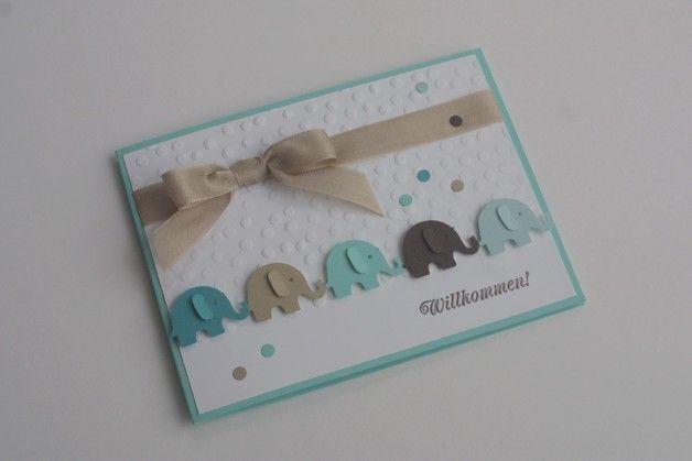 """Baby & Geburt - Baby Karte Geburt Junge """"Elefantenparade&q... - ein Designerstück von Das-Werk-der-Feen bei DaWanda"""