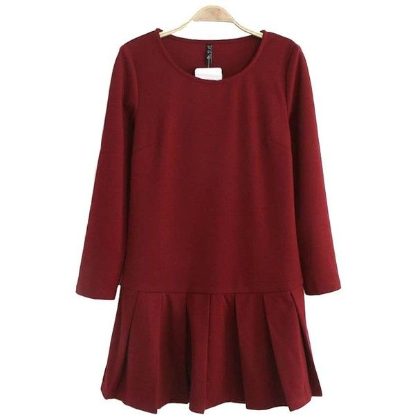 Dark Red Round Neck Long Sleeve Pleated Dress ($22) ❤ liked on Polyvore featuring dresses, short mini skirts, pleated miniskirt, short skirts, red mini skirt and red dress