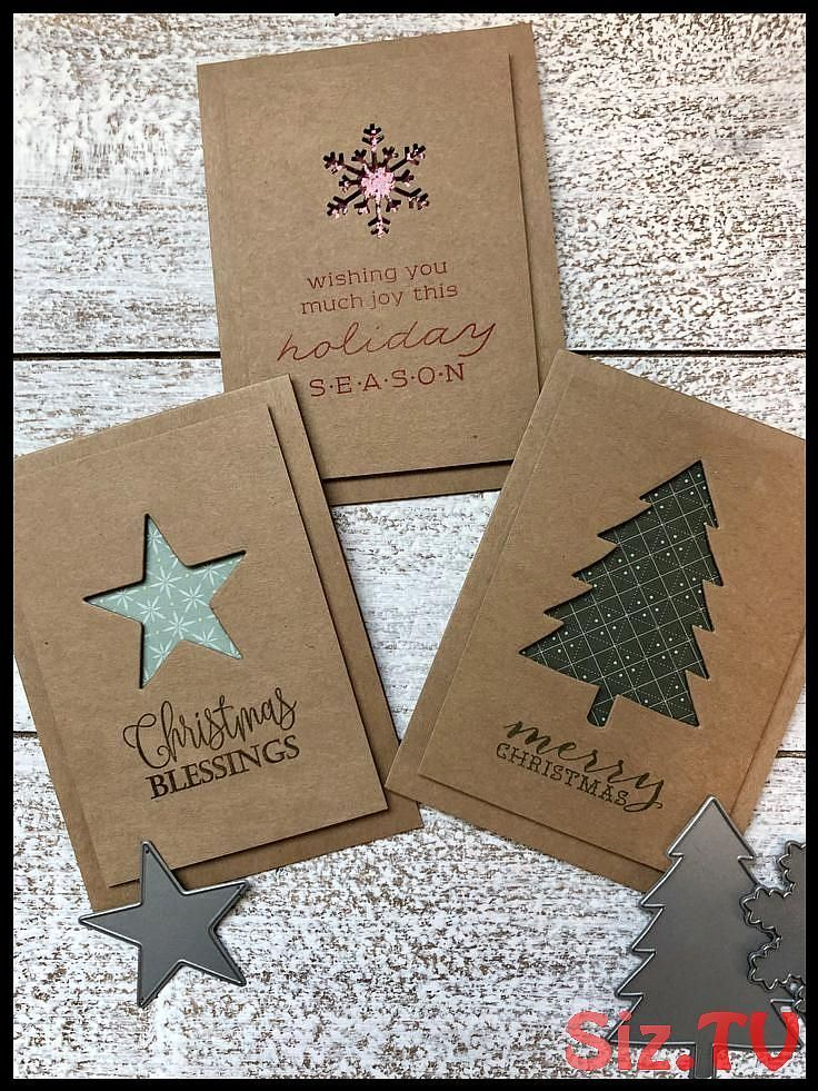 Simple Christmas Cards Made Of Kraft Paper Cards Chris Paper Flower Backdrop Wedding In 2021 Christmas Card Crafts Kraft Paper Christmas Cards Christmas Cards Handmade