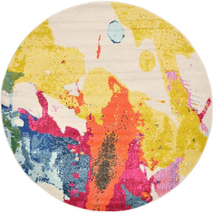 Unique Round Abstract Pastel Barcelona Area Rug (6' x 6') (6' x 6'), Beige, Size 6' x 6'