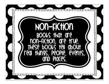 These are black and white polka dot text feature anchor charts.  That can be used to teach students about text features, then be displayed in the classroom as a reference.  Features included:Non-FictionFictionTable of ContentsIndexGraphsCaptionsDiagramsGlossaryMapsHeadings