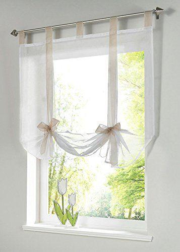 Uphome 1pcs Cute Bowknot Tie-Up Roman Curtain - Tab Top Sheer Kitchen Balloon Window Curtain31 x 55 InchSand