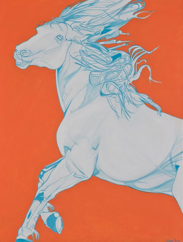 """As part of Yaheya's """"Year of the Horse"""" series. White horse on a mandarin background caught in mid gallop. The background provides context to the mood of the horse #Saatchi Art #Artist #Yaheya Pasha #Painting #art #equestrian #horse #equine"""