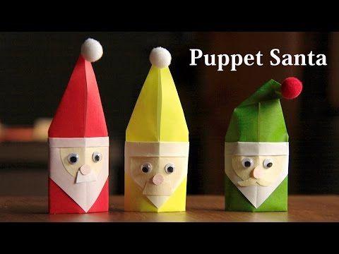 サンタの指人形 作りましょ ♪ 折り紙1枚。Puppet santa【Origami tutorial】merry christmas♪ - YouTube