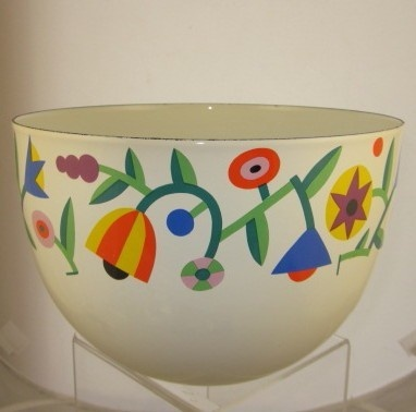 Arabia Finland Kaj Franck Enamel Bowl RARE Geometric Abstract Flowers 8 1/4"