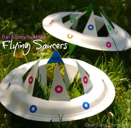 Find a super-simple tutorial to make a paper plate flying saucer toy that looks REALLY COOL when it is thrown like a frisbee!