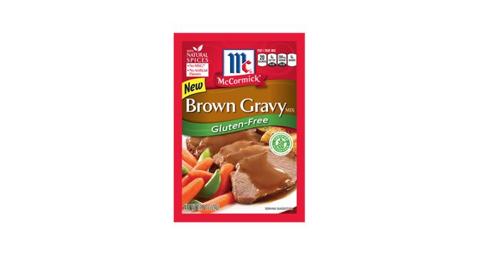 Our NEW McCormick® Gluten-Free Brown Gravy is a blend of spices, seasonings and starch, designed to make thick and savory gravy to use with meat dishes.