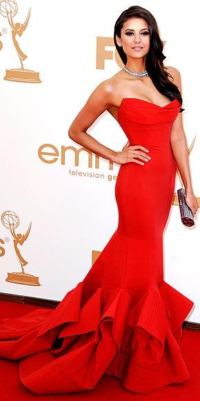 Vampire Diaries star Nina Dobrev stops traffic in her blood-red Donna Karan gown, Brian Atwood peep-toes and Neil Lane jewels at the 2011 Emmys. (she looks like a beatiful mermaid)