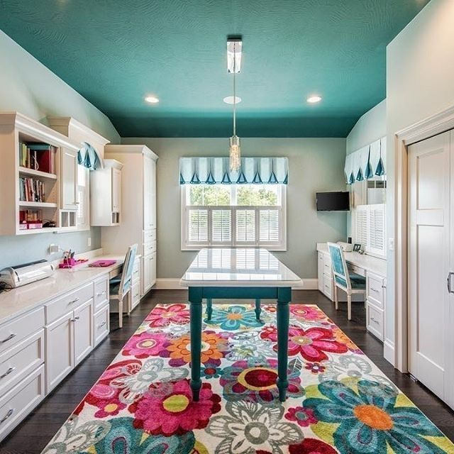 Dream Craft Room With Teal Ceiling, Colorful Floral Rug