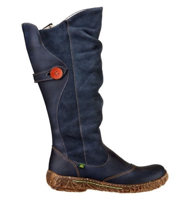 El Naturalista SHOES - Nido Ella N721 BOOTS SLOUCH COBALTO BLUE LEATHER 38 $230 #ElNaturalista #KneeHighBoots #Casual