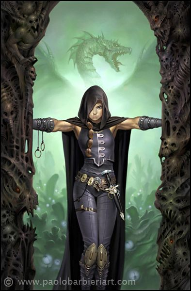 Dark cloaked rogue with dragon in the background. This is a book cover by Paolo Barbieri for The Wars of the Worlds Emerged: The Sect of the Assassins, written in Italian. http://www.paolobarbieriart.com/book-covers/le-guerre-del-mondo-emerso-la-setta-degli-assassini/