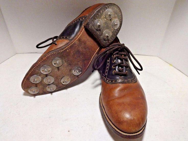 Mens Golf Shoes 8.5 M Vintage METAL CLEATS Wingtip Oxfords Brown Leather VTG #Unknown