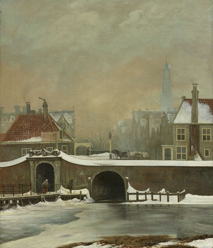 The Raampoortje in Amsterdam, Wouter Johannes van Troostwijk, 1809  oil on canvas, h 57cm × w 48cm.   The oil paint used in this painting allowed the ice formed in the pond to really gleam/shine making it appear real.  If the artist had used chalk it would have appeared dull.