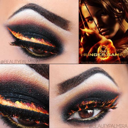 Burning Eyeliner, Hunger Games. I can take or leave the book/movie, but this look is AWESOME.