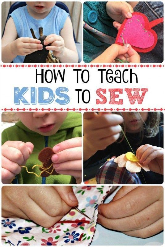 Cómo enseñar a los niños para coser - si usted está pensando en enseñar a sus hijos a coser, aquí es una gran guía con algunos consejos para ayudarles a comenzar!