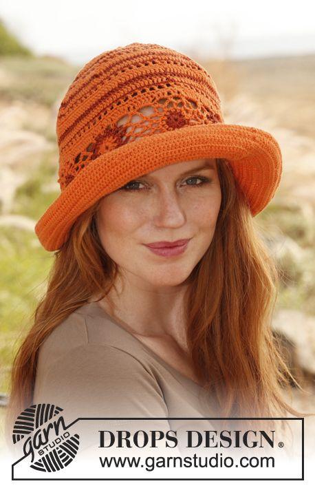 Crochet DROPS hat. Free Pattern.: Summer Hats, Crochet Summer, Drops Design, Cotton Viscose, Crochet Hats, Drop Design, Crochet Patterns, Free Patterns, Sun Hats