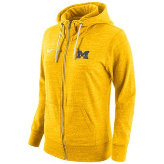 Michigan Wolverines Nike Women's Tailgate Gym Vintage Full-Zip Hoodie - Maize