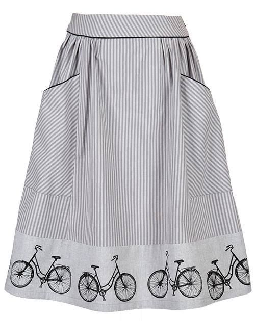 Bike skirt - Grey http://www.ecouture.com/bike-grey.html… Bike is a fine, feminine and comfortable skirt, which can be worn on many different occasions. The skirt is sewn in a gorgeous, organic cotton [GOTS certified]. And the handprinted bikes matches the piping. The skirt is flexible because of the good width, the elastic in the back and a zipper on the side.