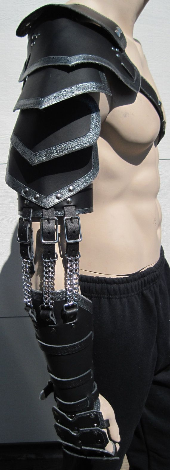 Custom crafted full leather arm armor by SharpMountainLeather