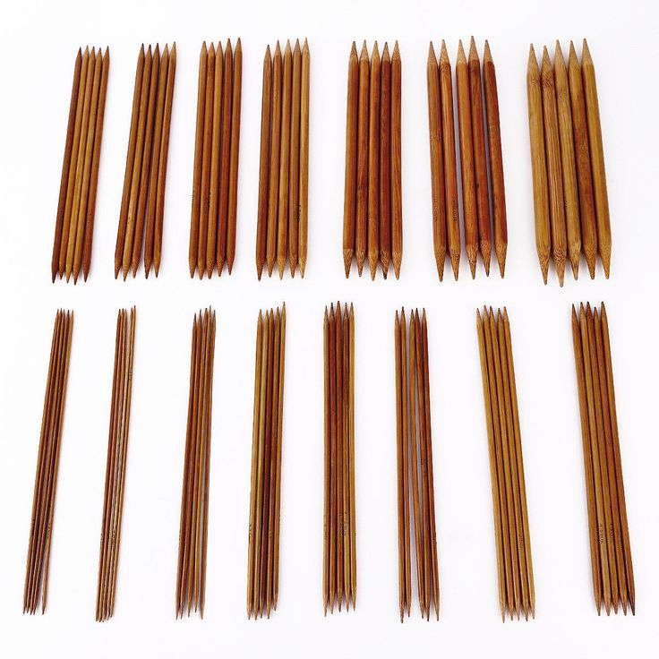 15 Sizes 2 -10Mm Double Pointed Carbonized Bamboo Knitting Needle Crochet 75 Set