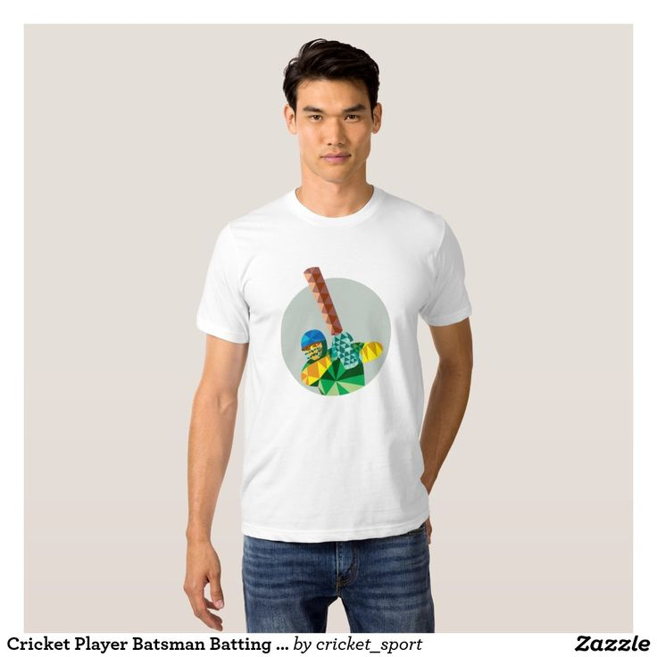 Cricket Player Batsman Batting Low Polygon Tee Shirt. Cricket World Cup men's t-shirt with a low polygon style illustration of a cricket player batsman with bat batting set inside circle. #cricket #cricketworldcup #t20worldcup #worldtwenty20 #t20worldcup2016