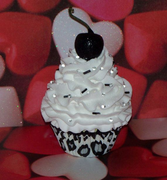 Fake Cupcake Original Snow Leopard Cupcake with White Whipped Frosting, Black Cherry, Sprinkles, for Weddings, Showers, Photo Props on Etsy, $10.00