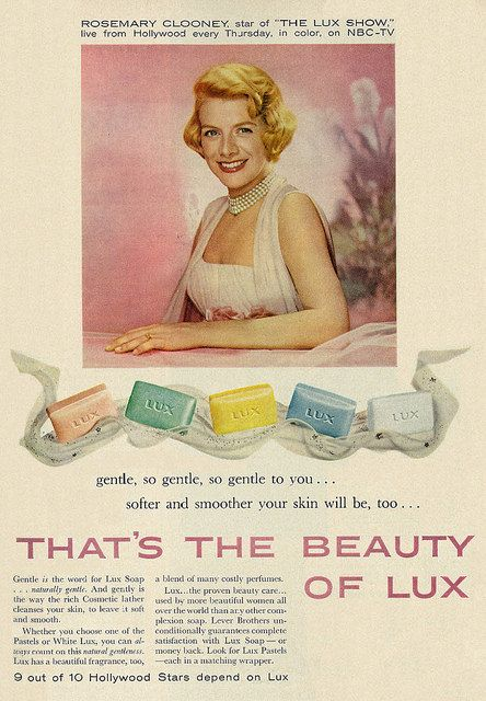 Actress-Singer Rosemary Clooney for Lux Soap, 1958.
