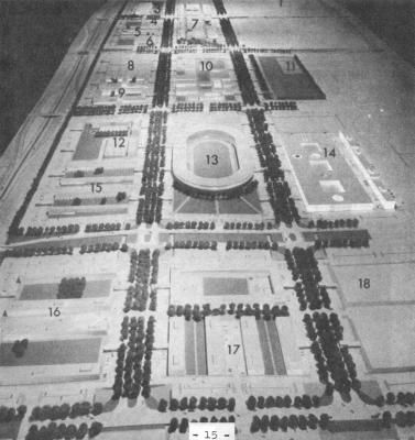 Milton Keynes, Buckinghamshire, England. A model of the proposed new town centre.       The Disappointing New Towns of Great Britain by Leonard Downie, Jr. an excoriating book by the American architectural critic on the architectural failure (as he saw it) of the 1960s new towns of Britain | Alicia Patterson Foundation, The Washington Post, ©1972 Leonard Downie, Jr.