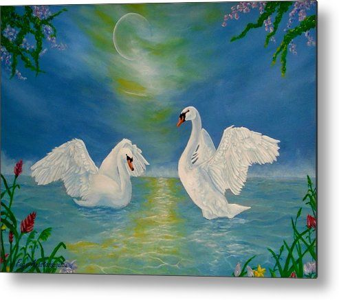 Metal Print, swans,painting,lake,scene,wildlife,nature,wild,birds,whimsical,romantic,love,night,moonlight,vivid,colorful,turquoise,blue,water,imagination,fantasy,poetic,contemporary,realism,figurative,fine,oil,wall,art,images,home,office,decor,artwork,modern,items,ideas,for sale,fine art america,Nocturnal Sonnet