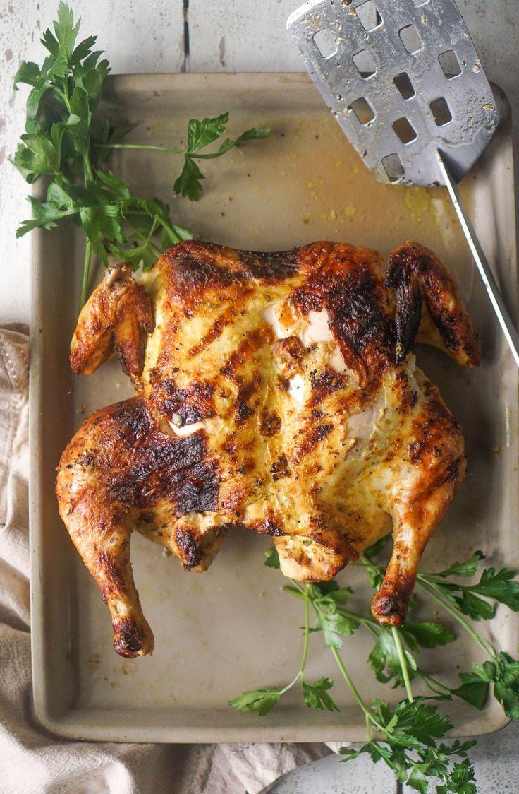 Grilled Honey Mustard Spatchcock Chicken