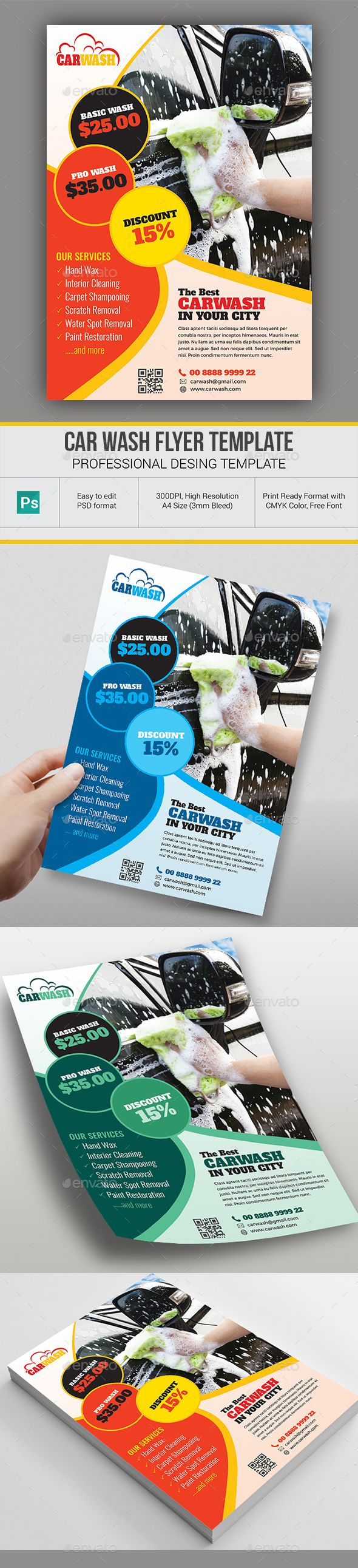 Car wash flyer templates photoshop psd repair station car wash download