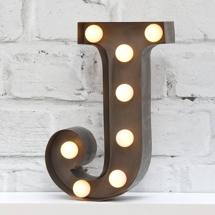 9 Quot Carnival Light Led Battery Powered Metal Letter Light Available In Industrial Silver Finish