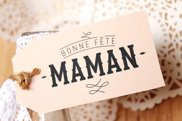 Etiquette Pour la fête des mères. Mademoiselle Claudine.