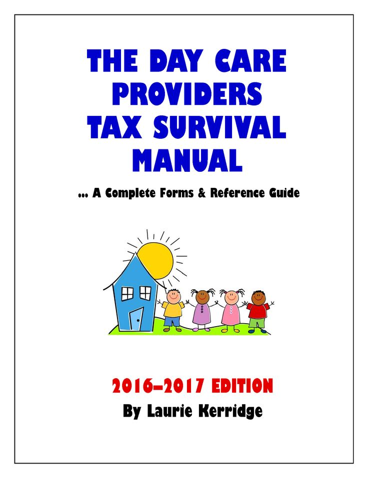 "www.daycaretax.org Daycare Providers Tax & Record Keeping System...  A record keeping system designed uniquely for home day care providers! For use in all states.  ...The Day Care Provider's Tax Survival Manual is designed to ensure you deduct EVERY day care expense and find those you haven't! Even many self-professing ""experienced"" tax professionals overlook these items. If they don't know, how will you? Order your copy at our website: www.daycaretax.org/shop/"